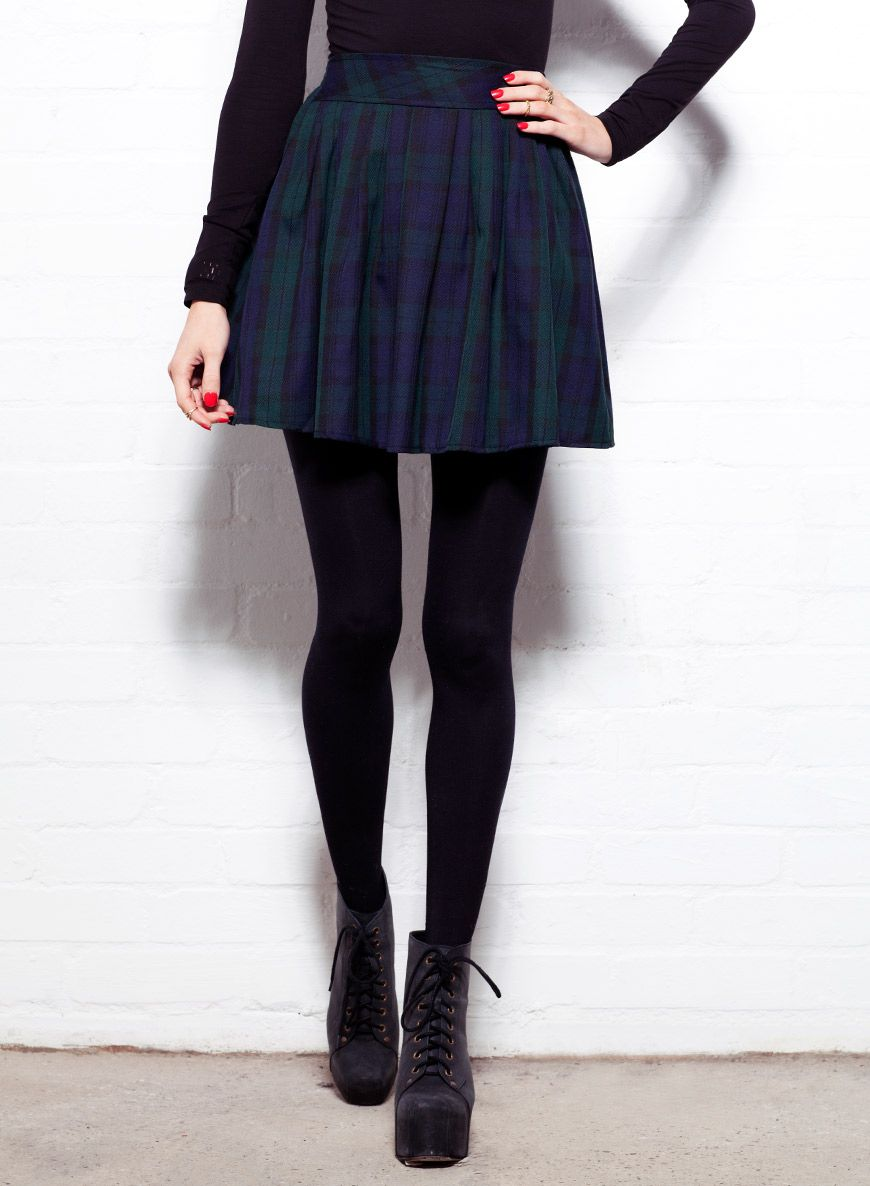 Shop Women's Green Tartan Lark High Waisted Skater Skirt. Buy ...