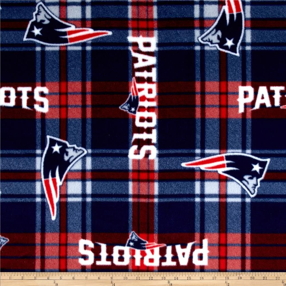 Nfl new england patriots plaid fleece redblue blanket fabrics