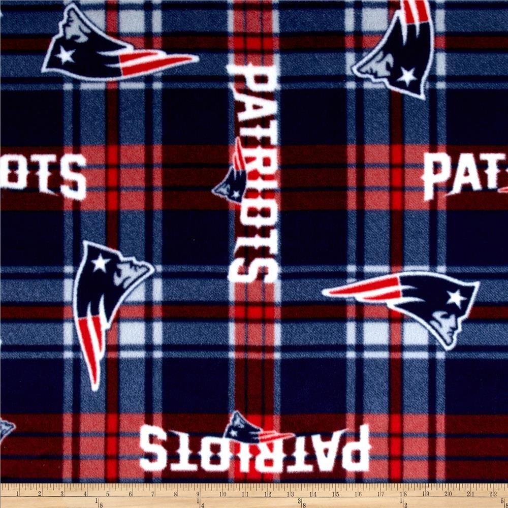 Nfl new england patriots plaid fleece redblue blanket fabrics