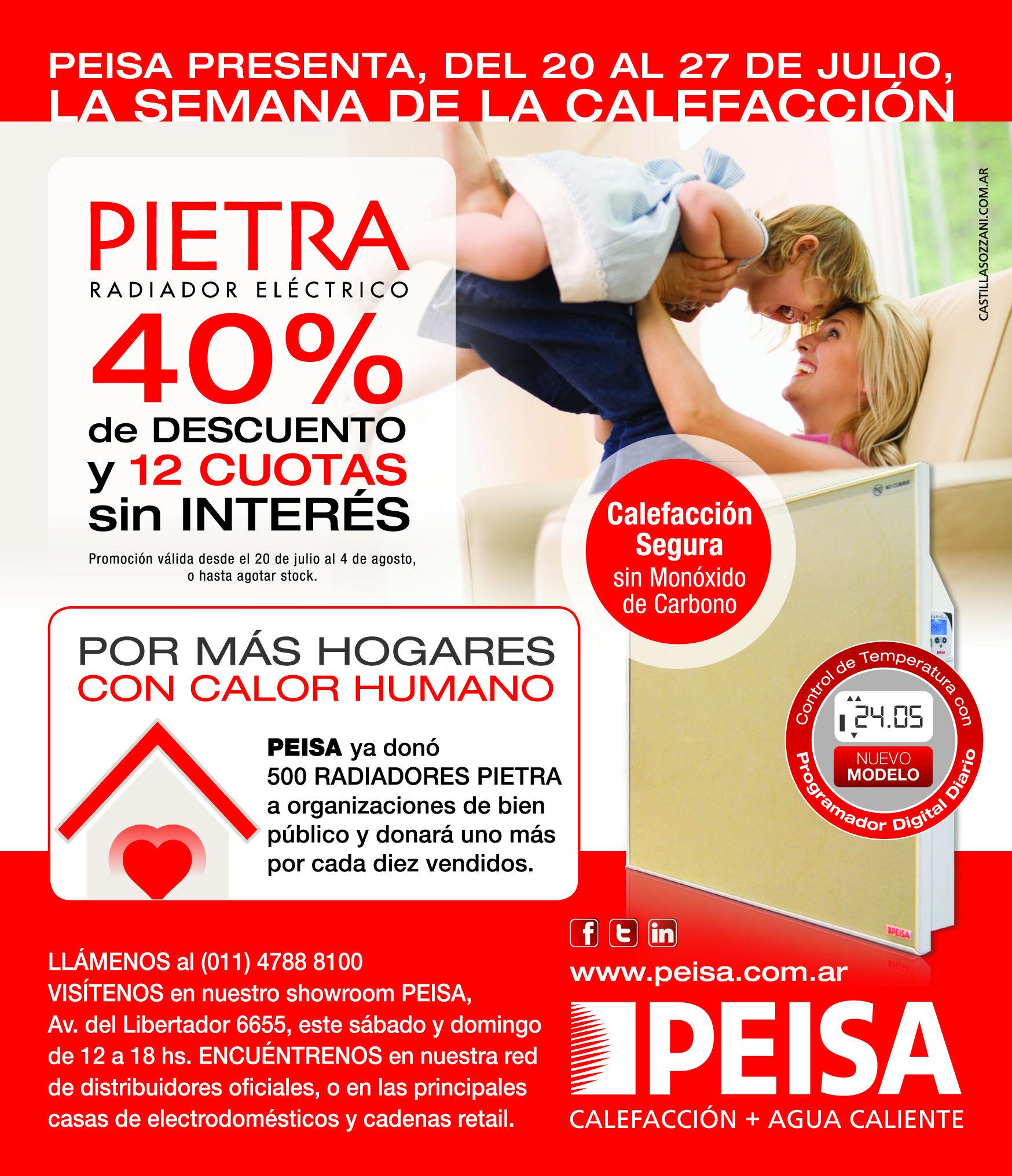 Oferta radiadores Pietra con un 40% de descuento. Adquieralos en Av. del Libertador 6655. Promocion válida hasta el 4 de agosto o hasta agotar stock.