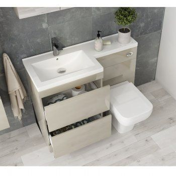 Pemberton L Shape 2 Drawer Basin And Toilet Combination Vanity
