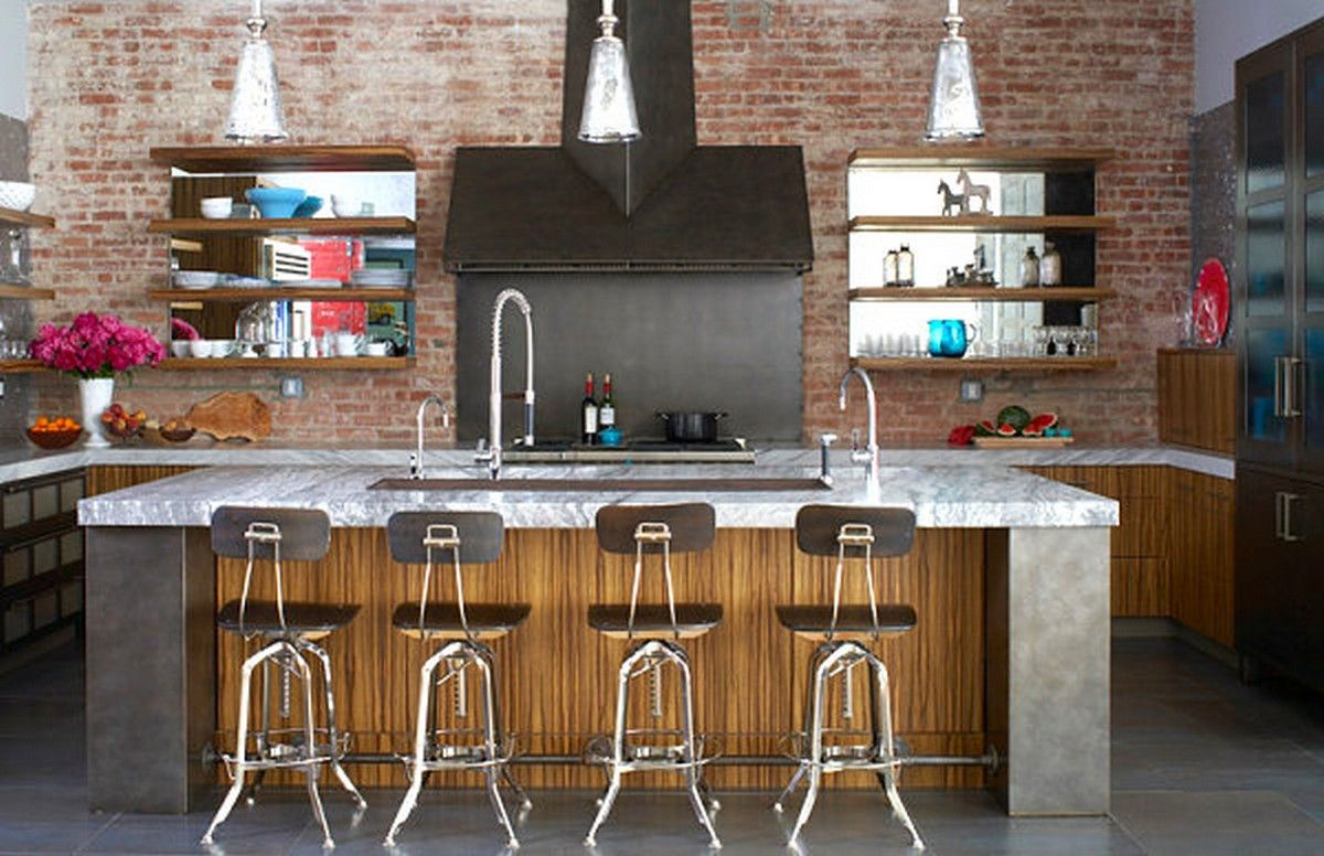 contemporary industrial kitchen design with white marble countertop kitchen island and few blue glassware pieces also magenta blossoms vase and exposed - Magenta Kitchen Design