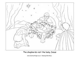 Nativity coloring page shepherds visit baby Jesus Kids Ministry