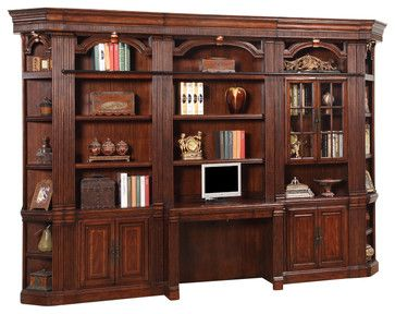 6 Piece Wellington Library Bookcase Wall Unit Mahogany Finish