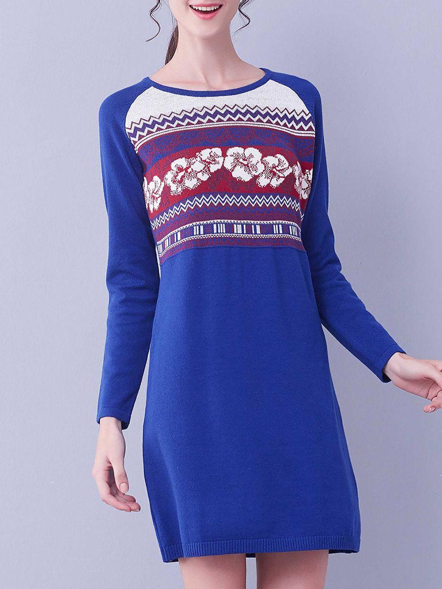 #AdoreWe #StyleWe I BELIEVE YOU Royal Blue Long Sleeve Cotton-blend Jacquard Mini Dress - AdoreWe.com