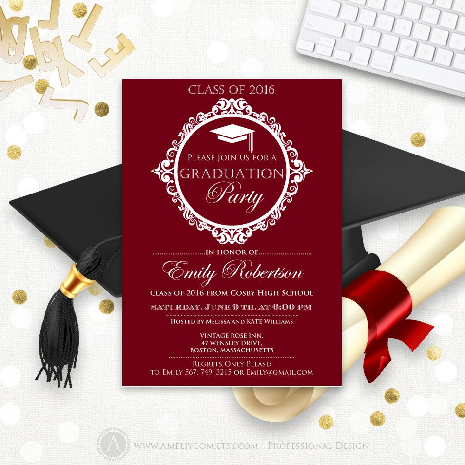 Printable Graduation announcement template College Burgundy ...