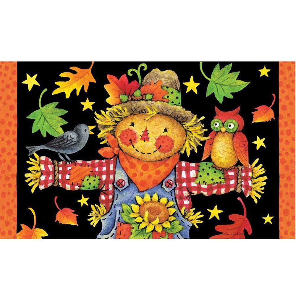 Scarecrow and pumpkins doormat products pinterest scarecrows