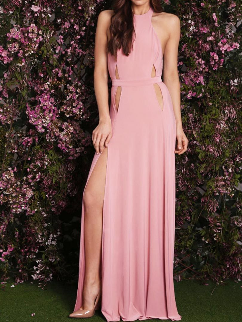 Pink Halter Cut Out Detail Backless Side Split Maxi Party Dress ...