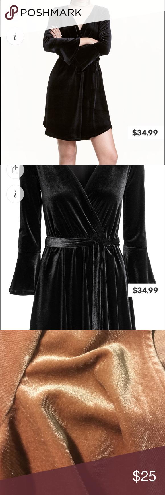 3e5971e03990e H M Black Velvet Wrap Dress – Little Black Dress | Black Lace ...