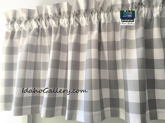 buffalo check gingham 1 inch gray and white check kitchen curtain country curtain 13 75 long on farmhouse kitchen curtains id=42092