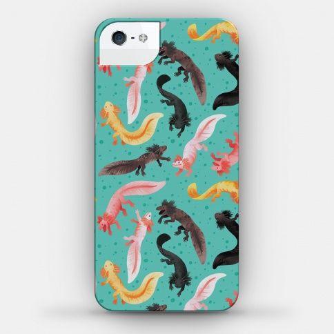 Cute Bright Axolotl Pattern  #science #biology #pastel #phonecase #iphonecase #axolotl #amphibians #herp #salamander