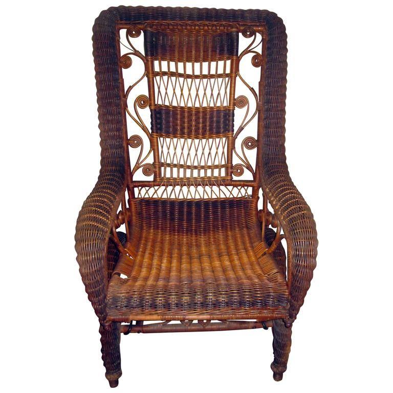 Tremendous 19Th Century Natural Wicker American Platform Rocker Ncnpc Chair Design For Home Ncnpcorg