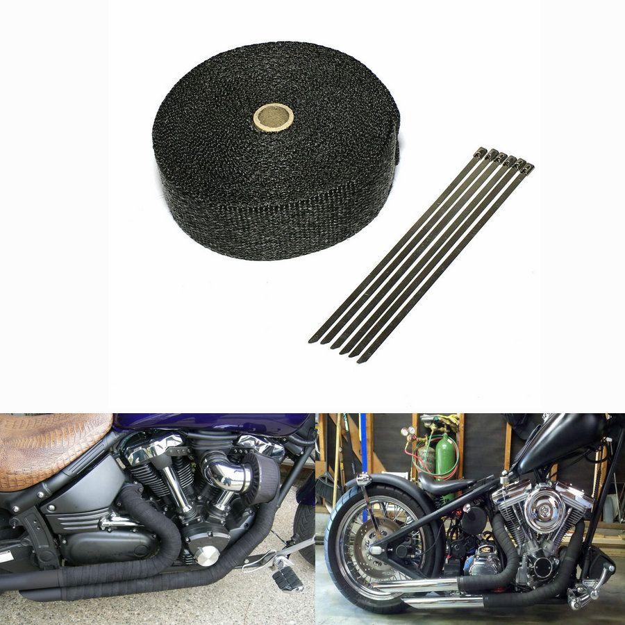 2inch black exhaust heat wrap downpipe