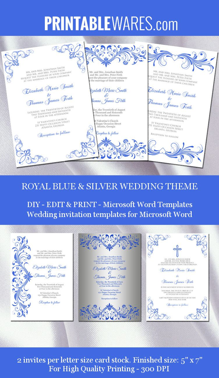royal blue and silver wedding invitation templates for microsoft word  printable and editable