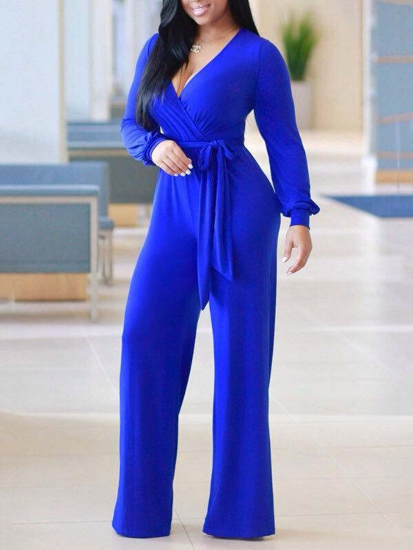 a2088488996b Royal blue long-sleeve jumpsuit