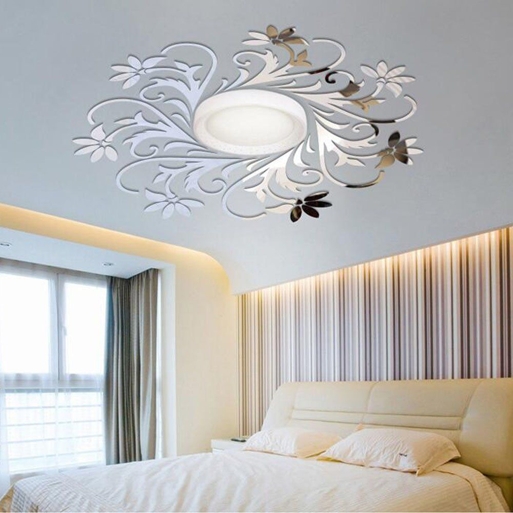 European Flower Vine Pattern Ceiling Wall Decoration Diy Acrylic Mirror Effect 3d Wall Stickers Mirror Decor Living Room Mirror Decor Wall Stickers Living Room