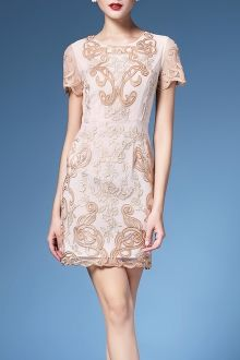 Embroidered Floral Shift Dress For Women