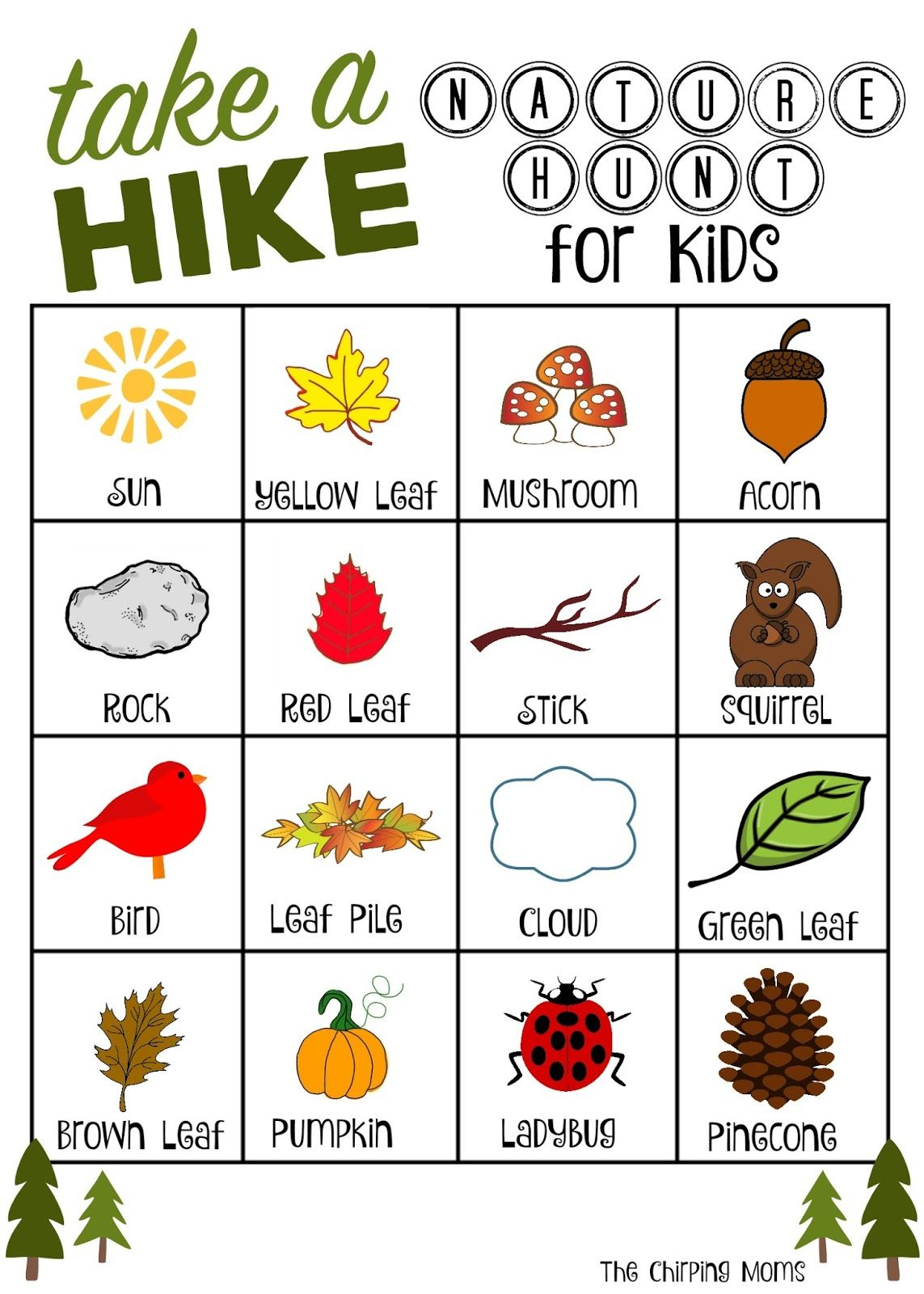 Take A Hike Nature Hunt Free Printable With Images Nature