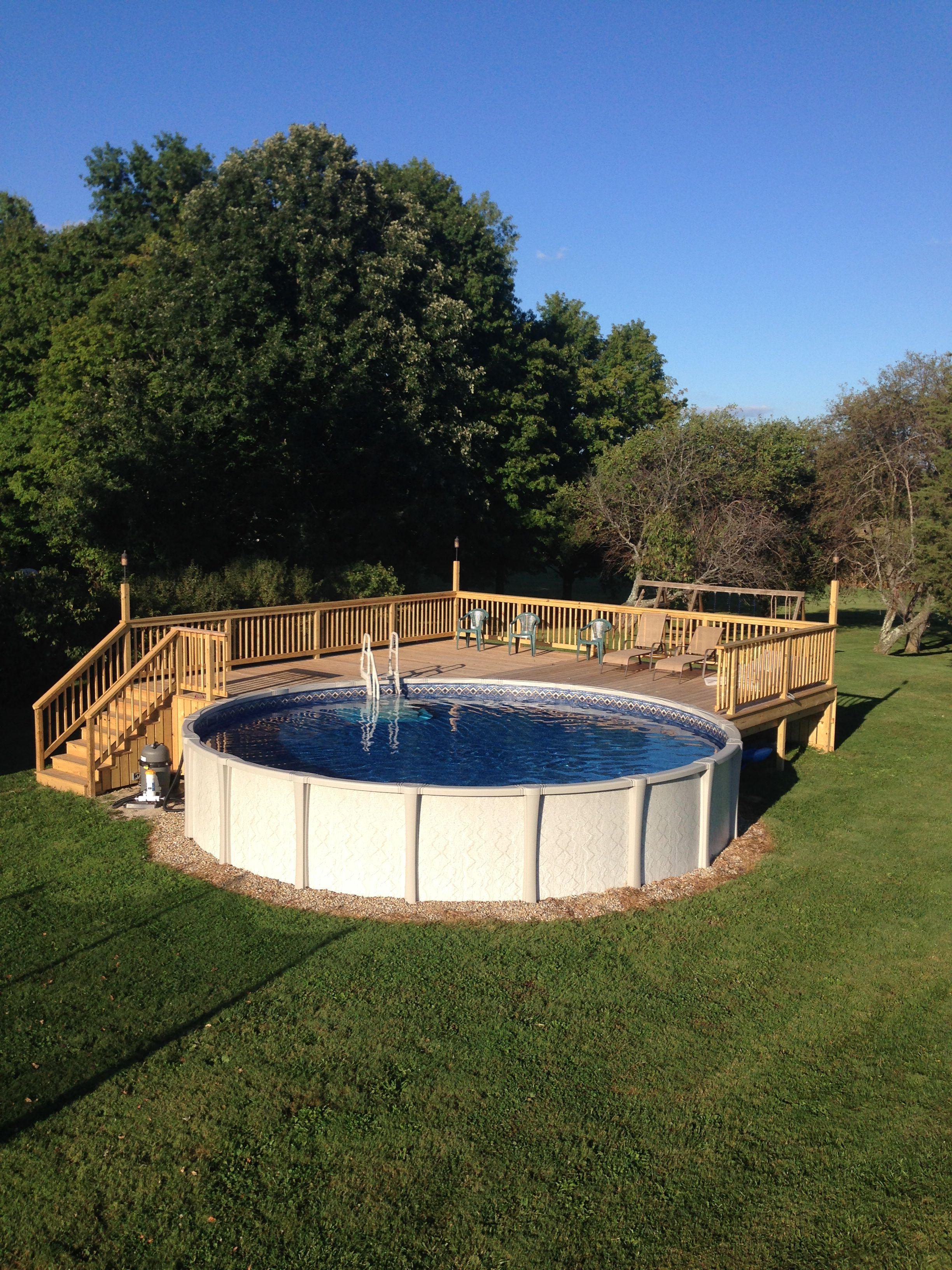 Above ground pool deck for 24 ft round pool deck is 28x28 for Deck from house to above ground pool