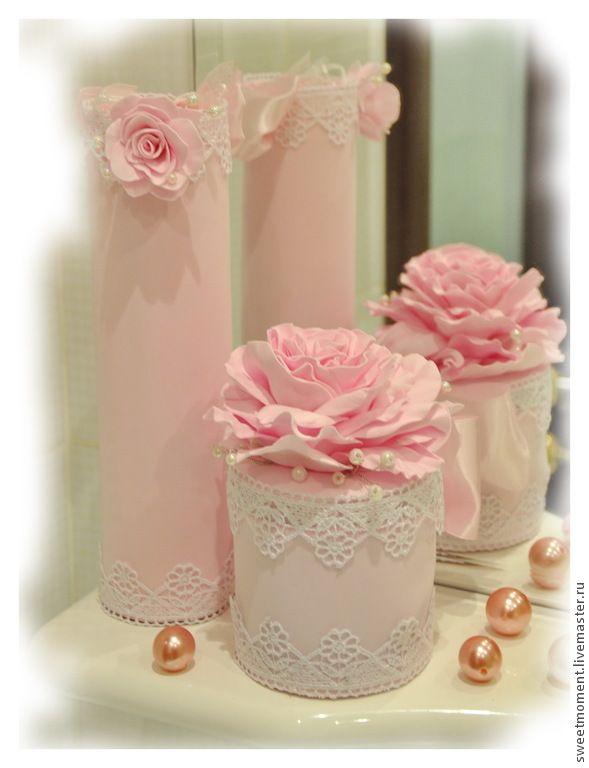 Купить Набор для ванной комнаты Зефирное настроение. - бледно-розовый, набор для ванной