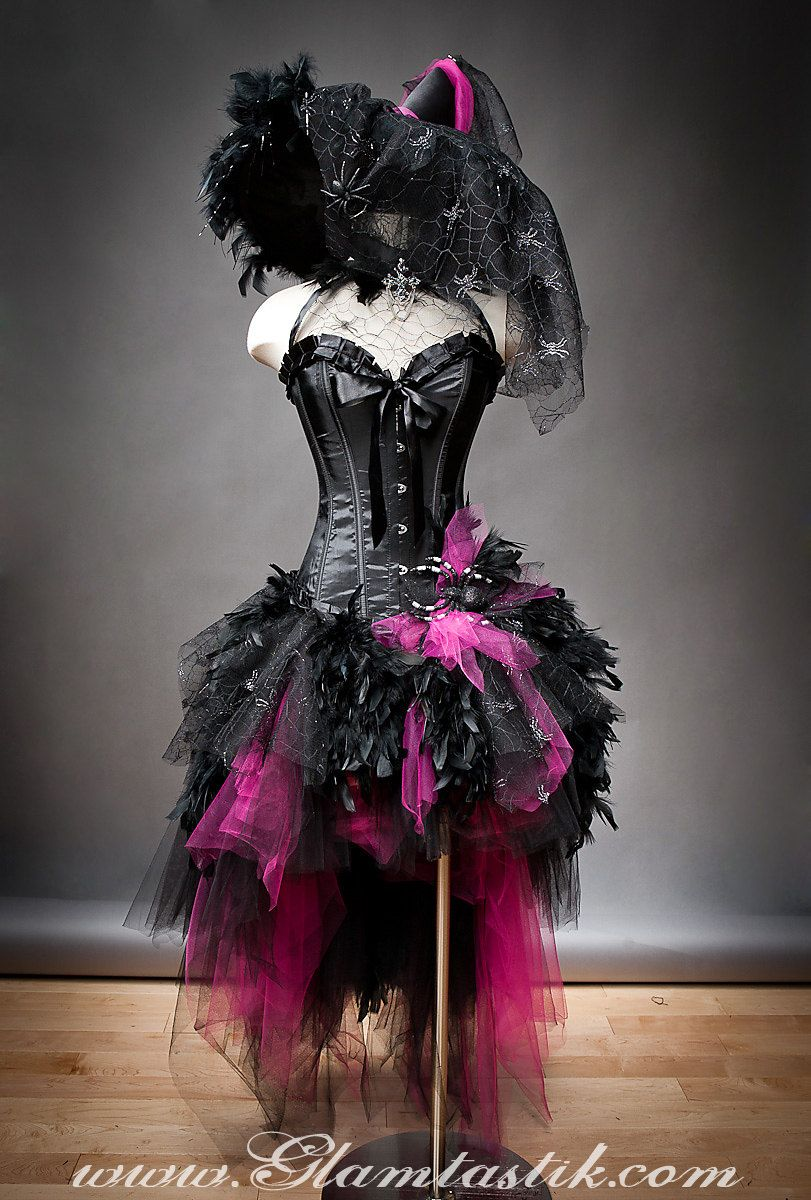 Size medium hot pink and black Feather Burlesque Corset Witch ...