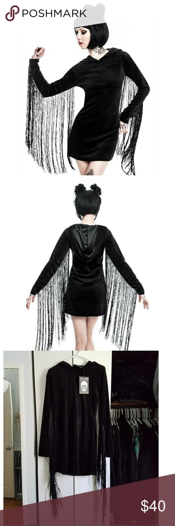 Killstar fringe dress black gothic dress witch nwt