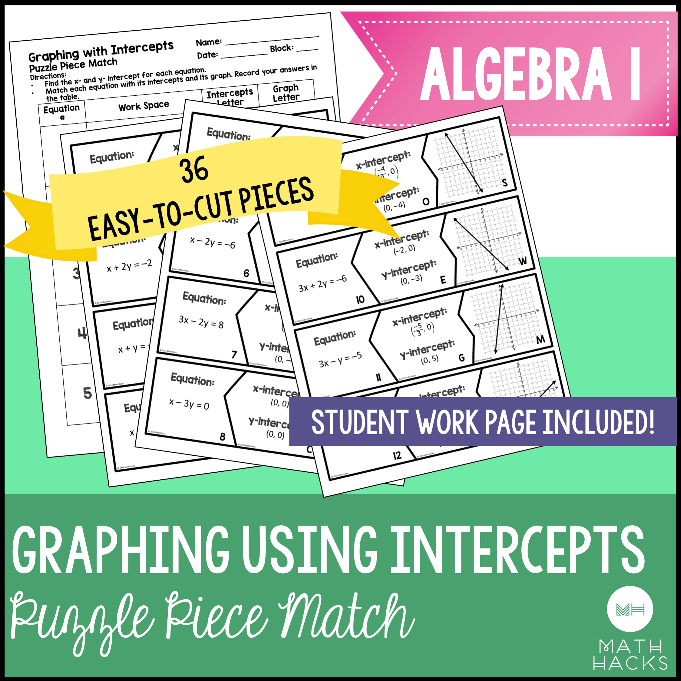 Graphing using intercepts puzzle piece activity standard form this interactive puzzle helps reinforce the algebra 1 skills needed to graph equations in standard form falaconquin