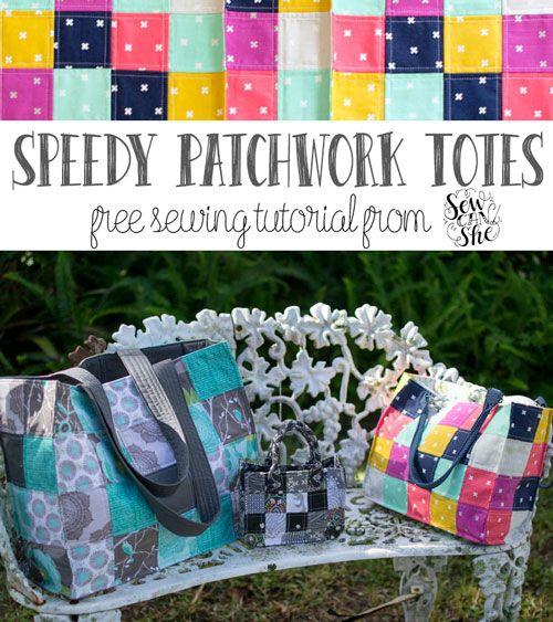 Speedy Patchwork Tote Bags (easy sewing tutorial)   Taschen nähen ...