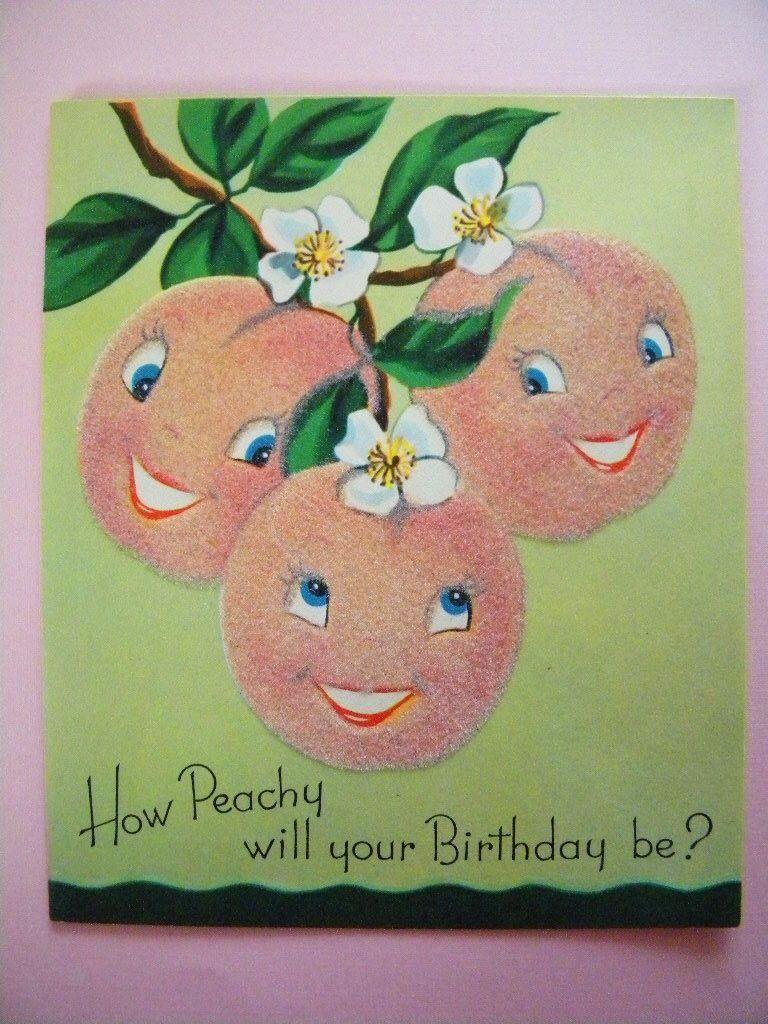 Vintage Unused Anthropomorphic Peach Birthday Card Flocked Fruit