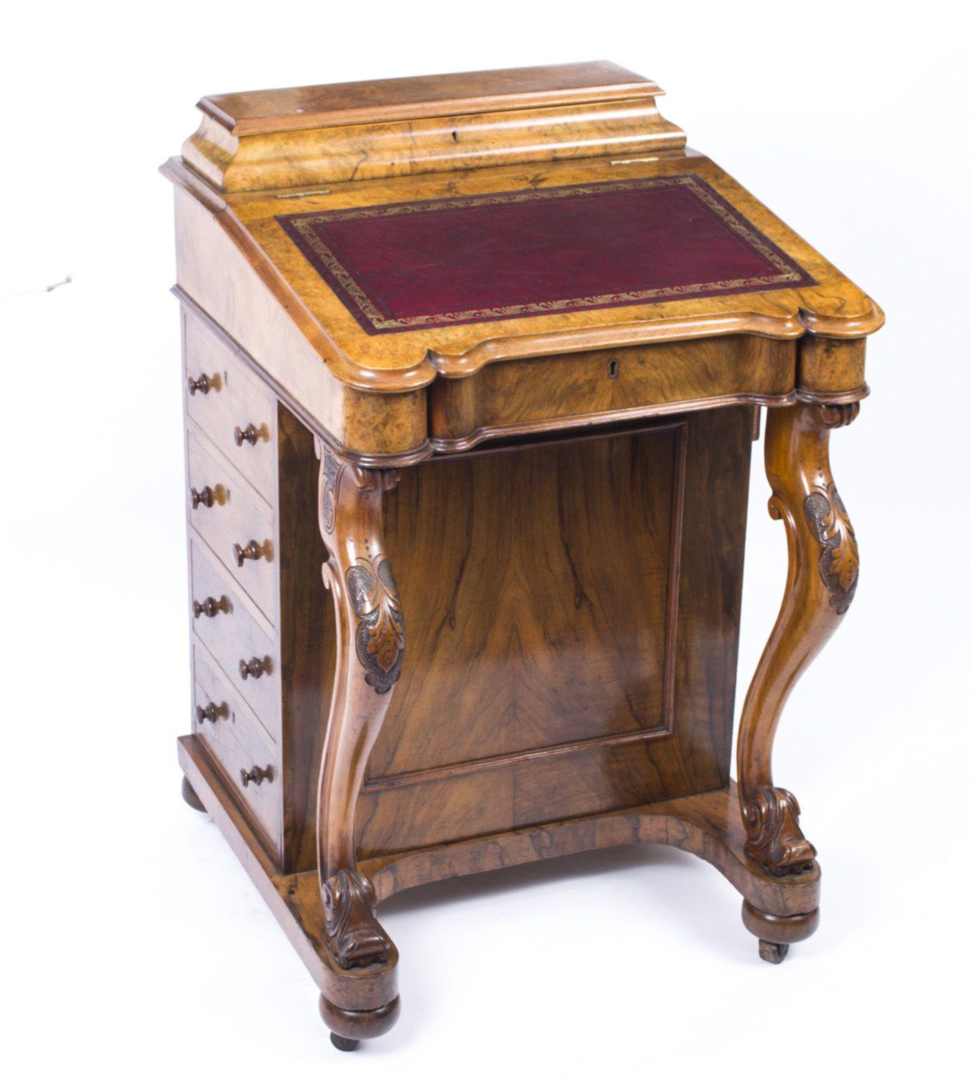 victorian office furniture. A Magnificent Antique Victorian Burr Walnut Davenport Desk, Circa 1870. Office Furniture