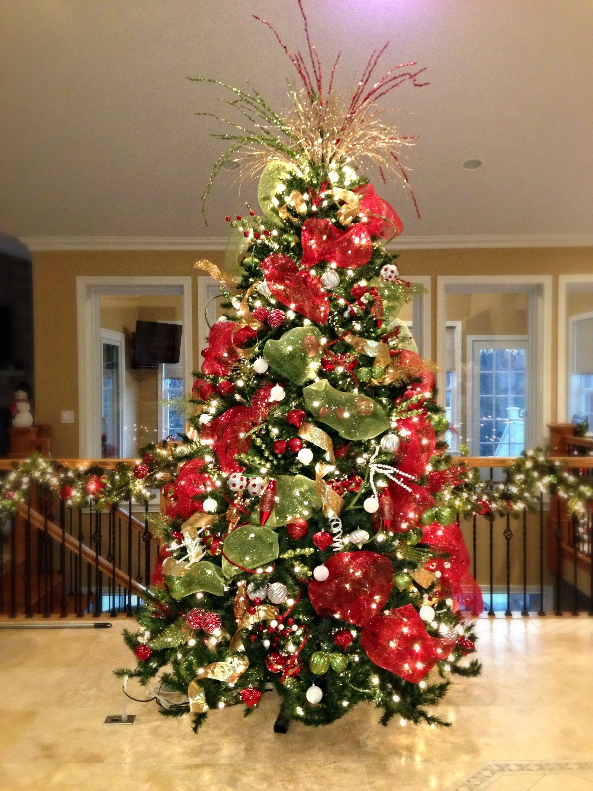Red, White, and Green Christmas Tree - Substitute the white with gold  possibly