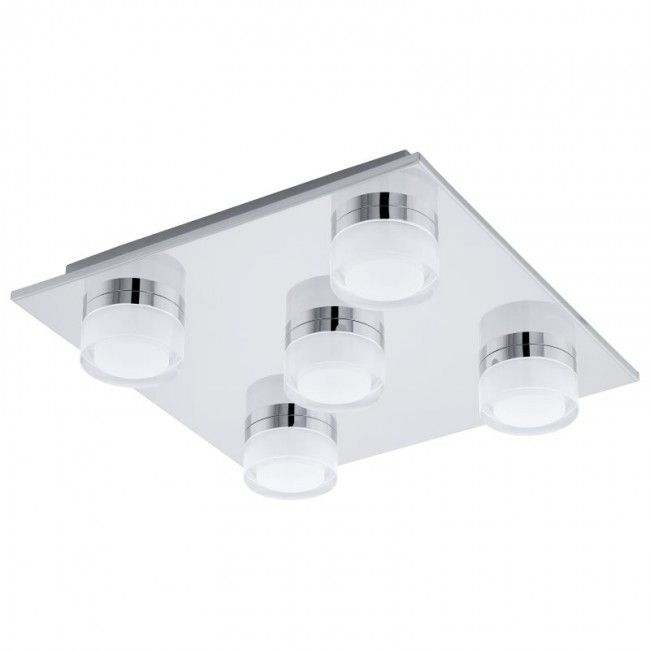 Schön Romendo Bathroom Ceiling Light With Replaceable LEDs. The Fitting Is Square  Shaped With Five Lights Attached, These Are Evenly Positioned On The Front  Face.