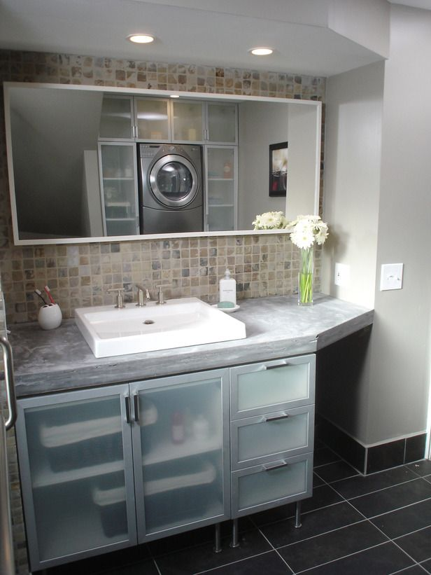 Stylish Double-Duty Spaces   Glass bathroom, Bathroom cabinets and ...