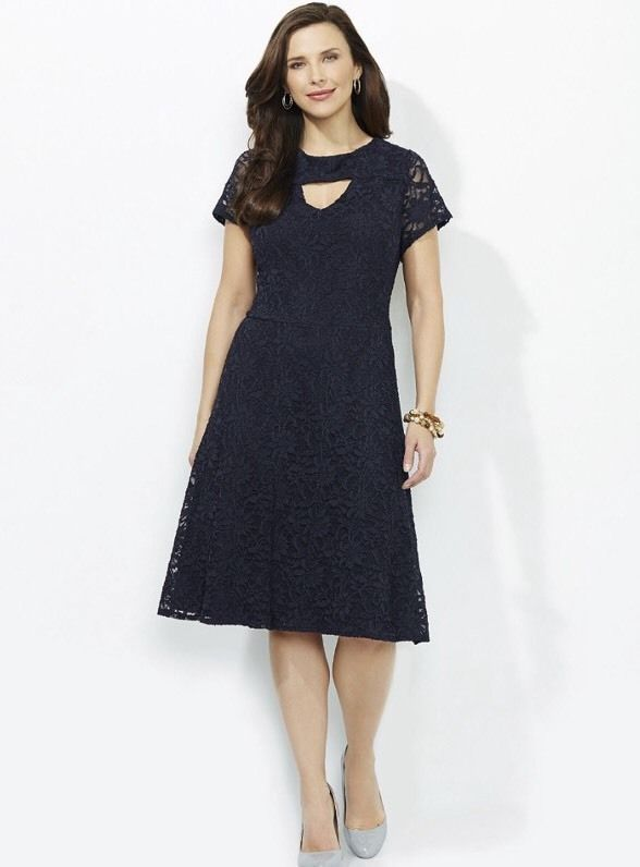 Catherines Stunning Lace Dress Navy Blue Plus Size 3x Lace