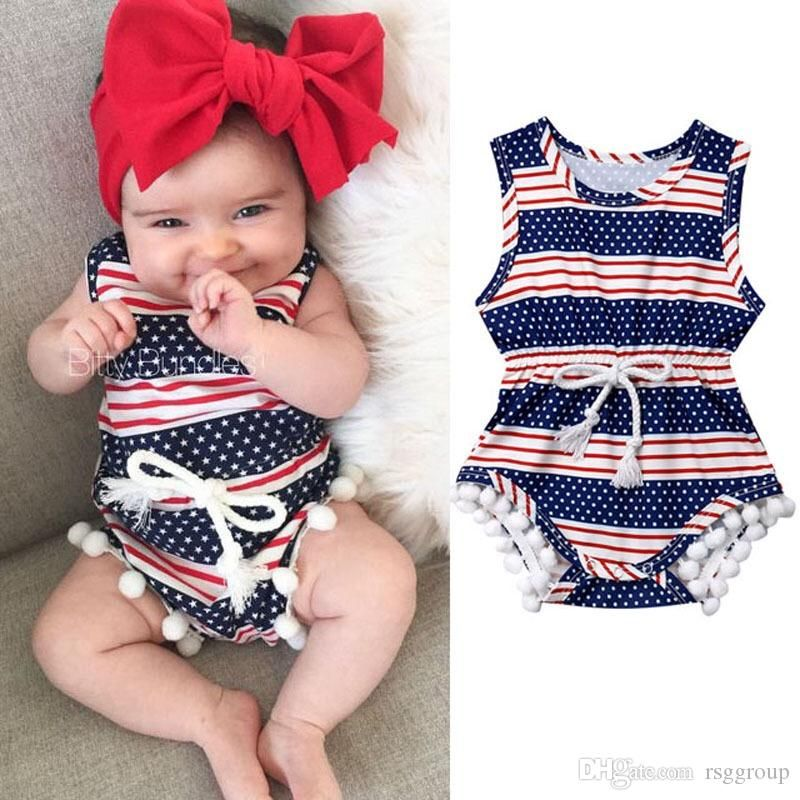 Newborn Infant Baby Boy Girl 4th Of July Romper Bodysuit Jumpsuit Outfit Clothes