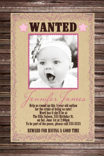 Wanted Poster Cowgirl Birthday Invitation Childs Partywestern