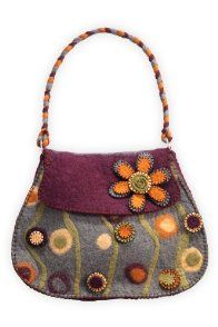 Rising Tide Felted Wool Flower Garden Bag modern folk style purse using zipper flowers