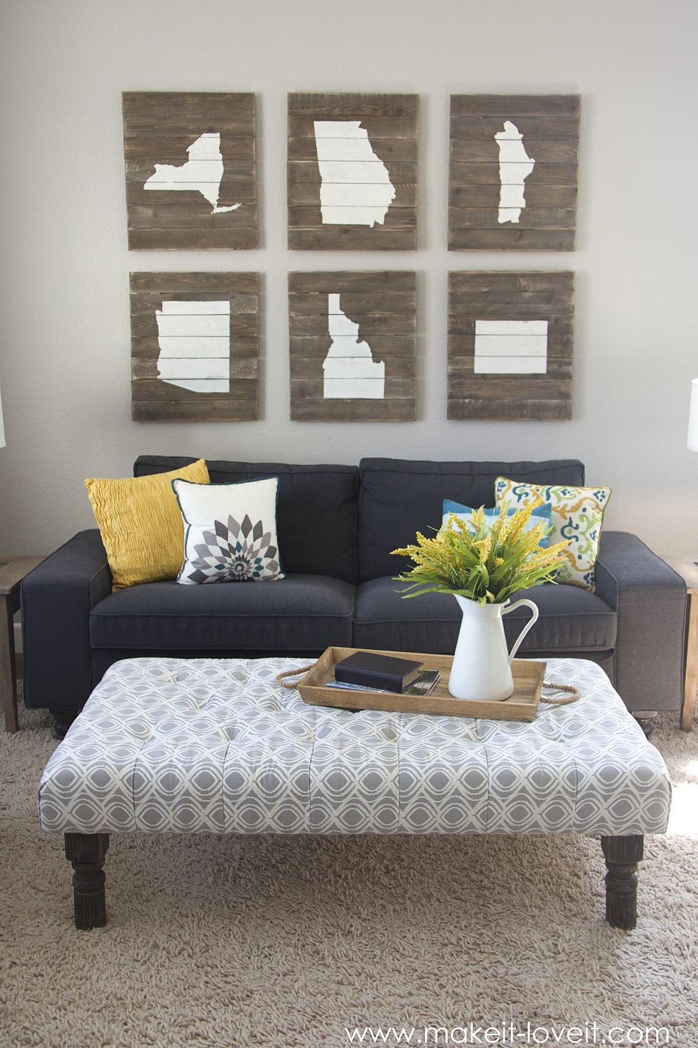 DIY Tufted Ottoman.....from An Old Kithen Table (or Coffee