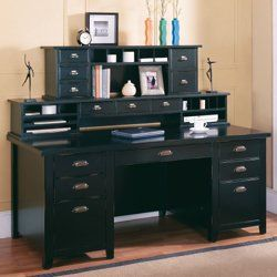 Distressed Black Writing Desk With Two Hutches Writing Desk Kathy