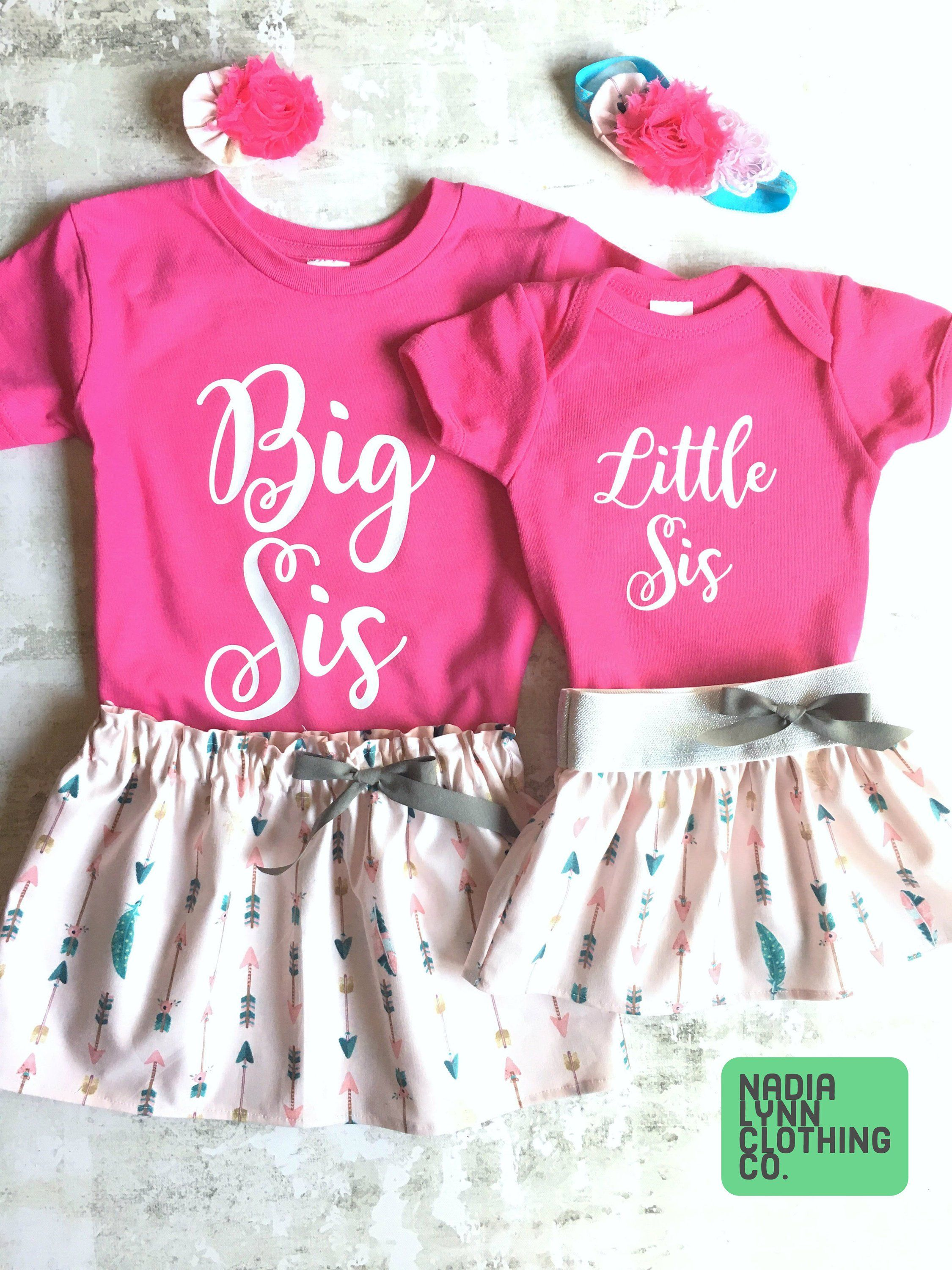 Big Sister Little Sister Outfits Pink And Gray Feather Sisters Matching Outfits Big Sis Little Sis Skirt Sister Outfits Sibling Outfits Baby Kids Clothes