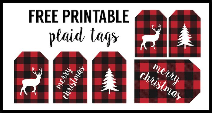 Digital Bunting Instant Download Buffalo Plaid Christmas Banner Printable Red Merry Christmas Party Decorations DIY Pennant Decor Ideas