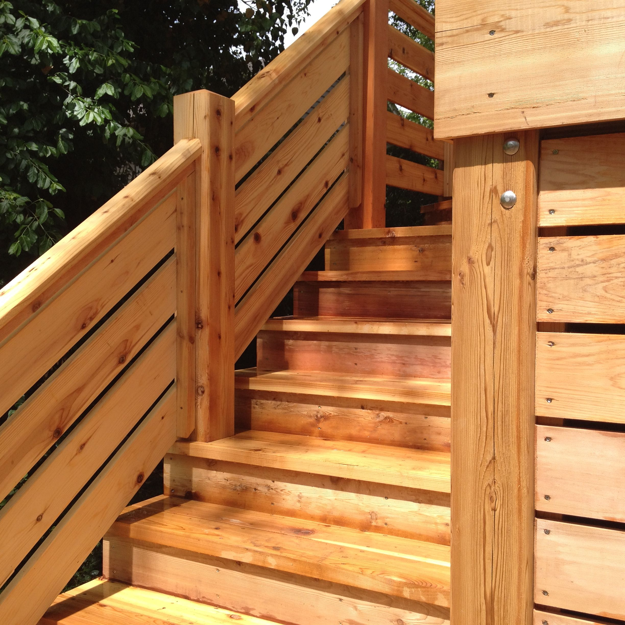 Best Cedar Deck With A Horizontal Railing Porch Design 400 x 300