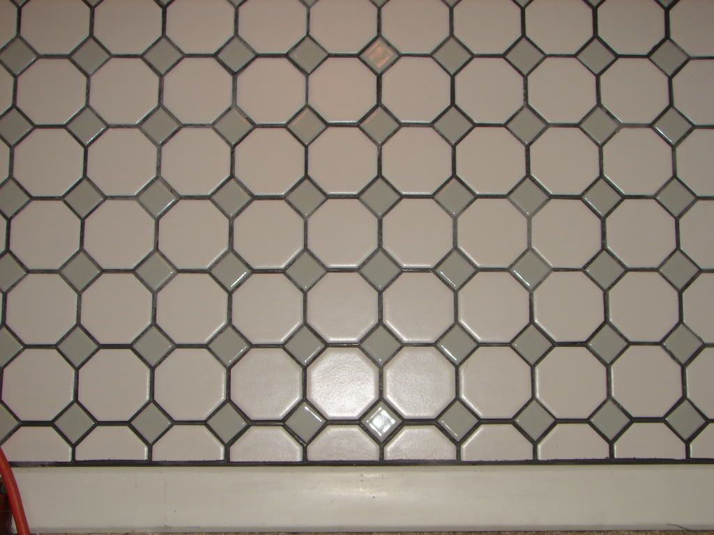 Octagon Dot Tile With Gray Grout Mapei Silver Color Sanded