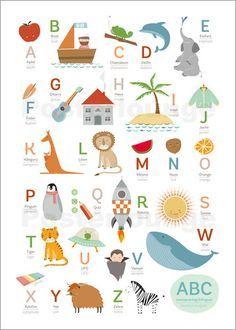 Premium-Poster ABC Deutsch - Englisch   kids&school   Abc ...
