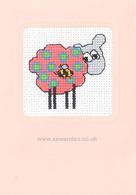 Sheep Pink Gift Card Cross Stitch Kit