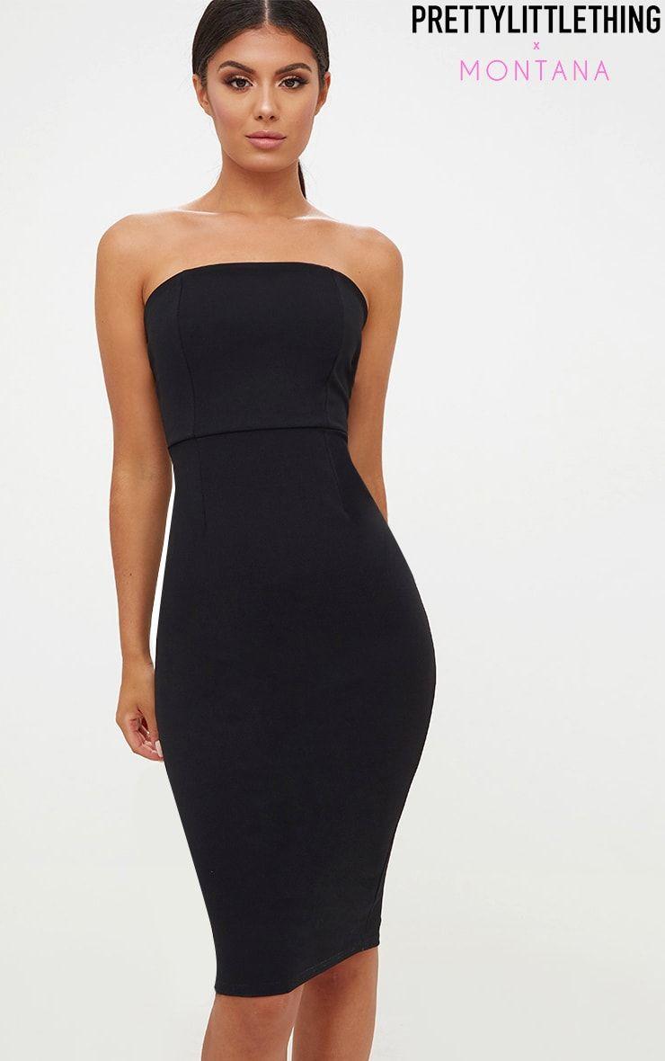 Black Bandeau Split Back Midi Dress Dresses Strapless Dress Formal Black Bandeau [ 1180 x 740 Pixel ]