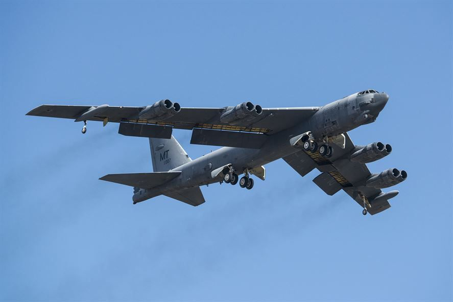 """A B-52H Stratofortress takes off after being taken out of long term storage Feb. 13, 2015, at Davis-Monthan Air Force Base, Ariz. The aircraft was decommissioned in 2008 and has spent the last seven years sitting in the """"Boneyard,"""" but was selected to be returned to active status and will eventually rejoin the B-52 fleet. The B-52 was flown by the 309th Aerospace Maintenance and Regeneration Group. (U.S. Air Force photo/Master Sgt. Greg Steele)"""