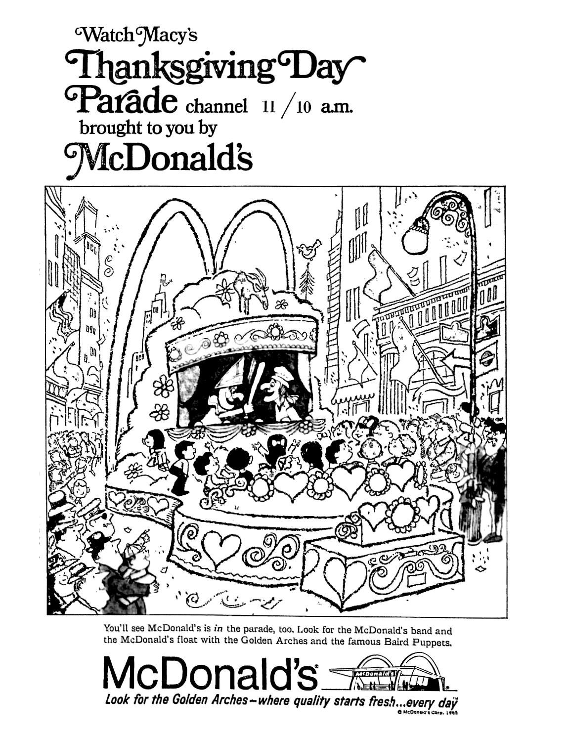 McDonald\'s - Macy\'s Thanksgiving Parade - November 1965 | 1960\'s ...