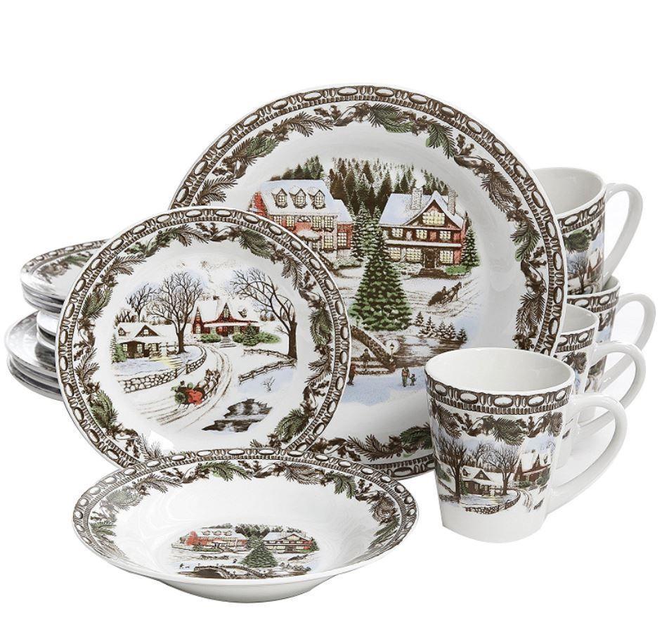 Christmas Dinnerware Set 16 Piece Holiday Service 4 Winter Tree ...