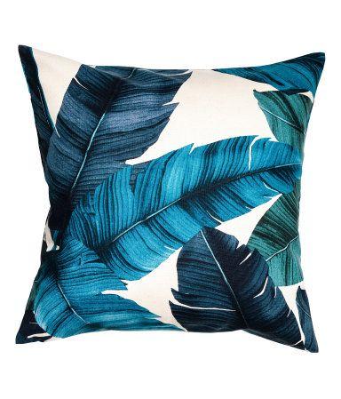 Luonnonvalkoinen/Tummansininen Puuvillakankainen tyynynpäällinen